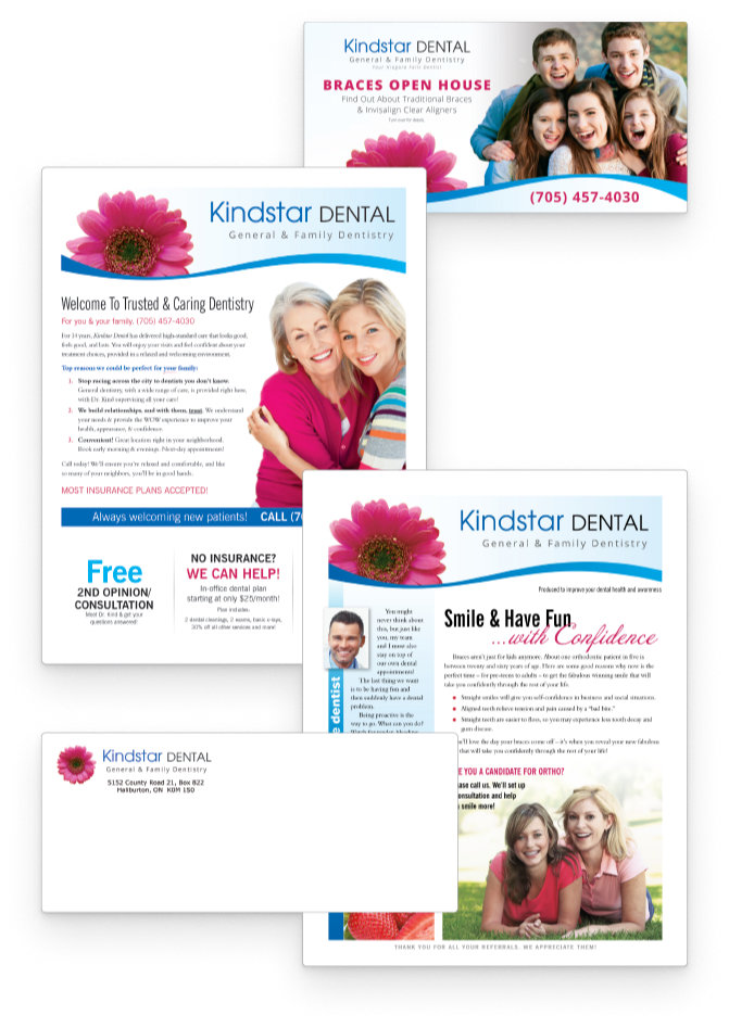 Samples of Patient NEWS' direct mail solutions, including practice brochures and newsletters